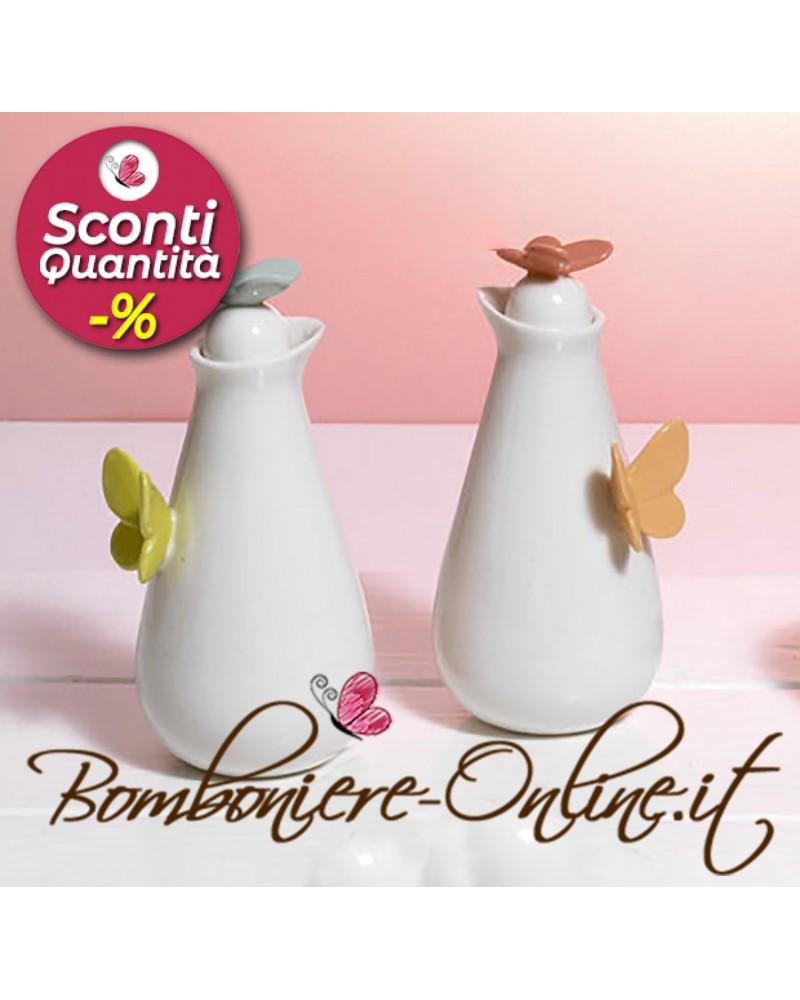 Bomboniera cuorematto 2021 zuccheriera in ceramica bianca con decori in argento estrass diam.10cm h11cm linea cuorebrilla. Set Bottigliette Per Olio Aceto In Ceramica Collezione Butterfly Bmb291
