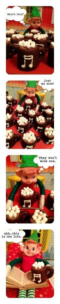 chocolate dipped marshmallow elf mug comic