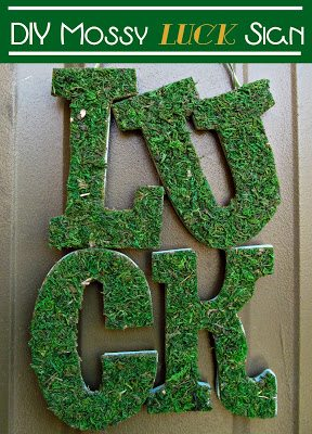 DIY Mossy Luck Sign2