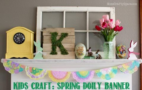 Easy-Kids-Craft-Spring-Easter-Watercolor-Doily-Banner-Garland-Bunting