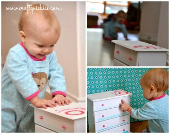 Painting a Sweet Miniature Dresser with Handmade Charlotte Stencils Baby Collage