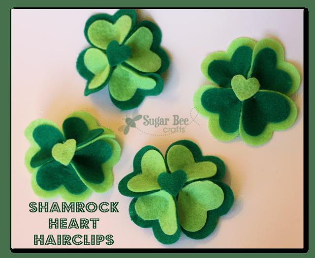 shamrock heart hairclips