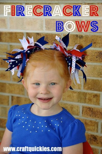 girl wearing Firecracker Bows