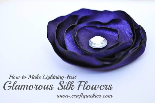 These glamorous silk flowers from Craft Quickies are a cinch to make and can be used in so many ways! Headbands, hair clips, necklaces, on belts or purses, pinned to a top or sweater, or even sewn to a pillow!