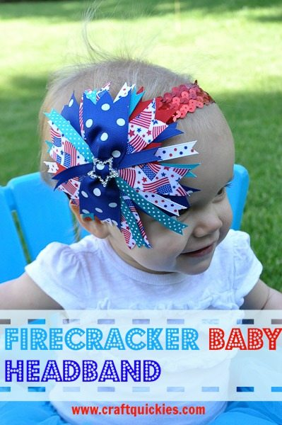 "I love this baby ""firecracker"" bow for the 4th of July! So simple and quick to make!"