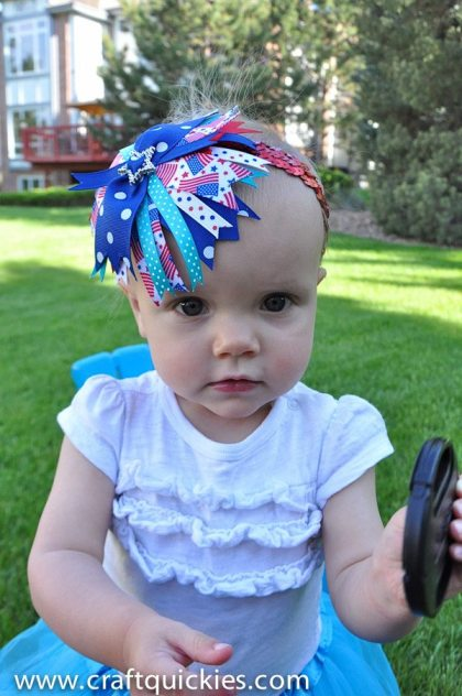 """I love this baby """"firecracker"""" bow for the 4th of July!  So simple and quick to make!"""