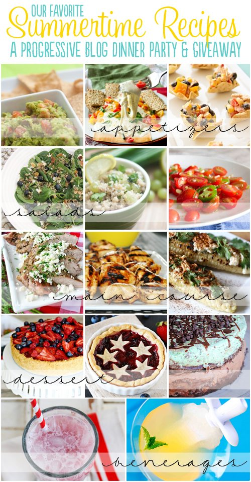 Fabulous Summer Progressive Dinner recipes from your favorite bloggers!  YUM!