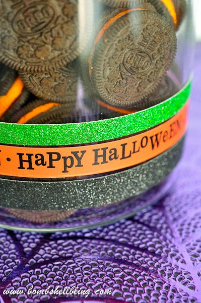 Use Halloween washi tape and glitter tape to create a festive cookie jar in minutes!  Too fun!