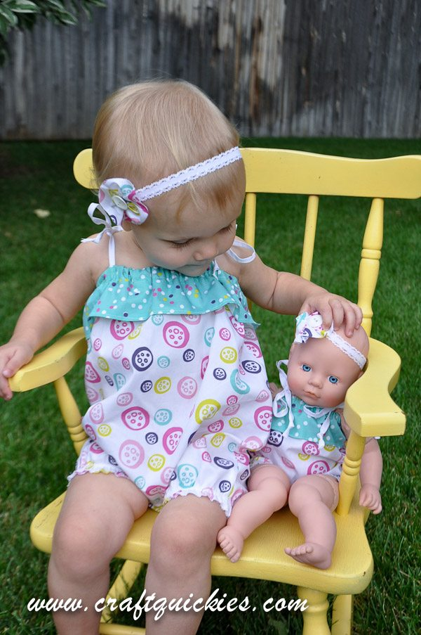 Matching ruffle rompers for baby girl and her doll!  Cutest!!