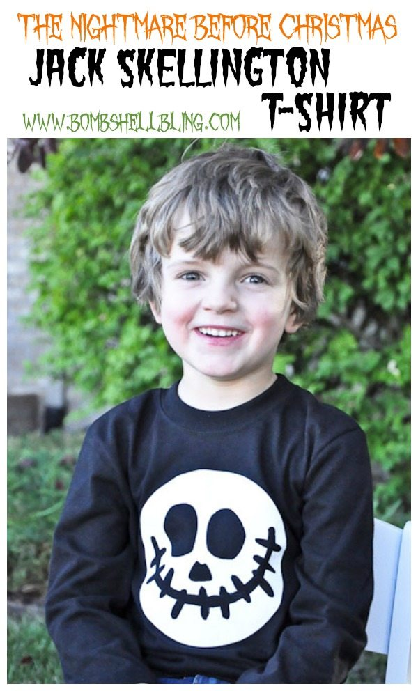I love this Jack Skellington inspired shirt! Made with the Cricut and iron-on vinyl, this shirt comes together in a flash! #halloween #jackskellington #nightmarebeforechristmas
