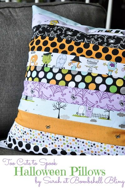 Too Cute to Spook Pillows by Bombshell Bling. 13 Spooky Halloween Sewing Projects