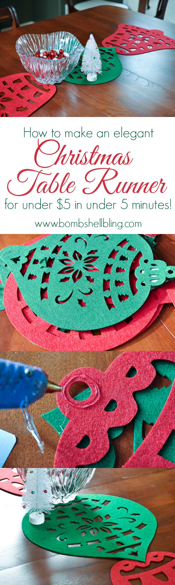 Make a festive table runner for under $5 in under 5 minutes! WOW!