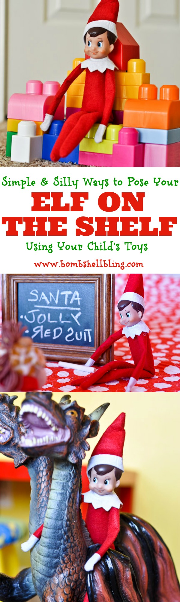 Simple and silly Elf on the Shelf ideas using toys. Kids love to see the mischief elves get into. Just wait until you see the look on their faces when they see the elves are messing with their stuff! I love these simple ideas!