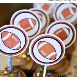 Football Themed Mini Cupcake Toppers