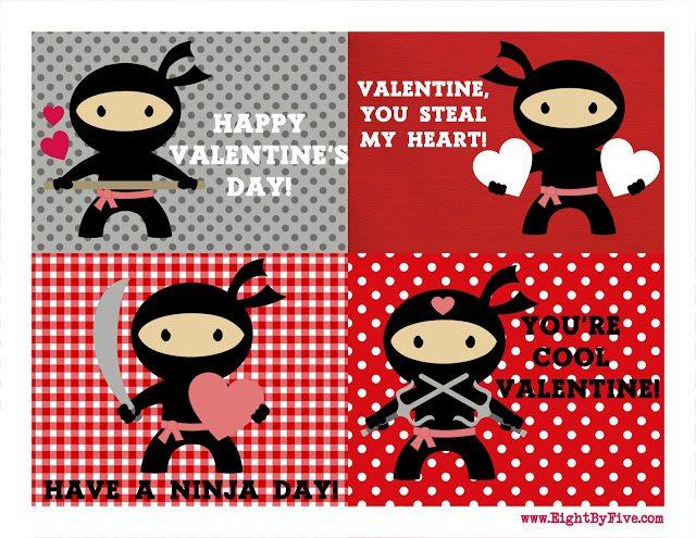 +Ninja Valentines Printable