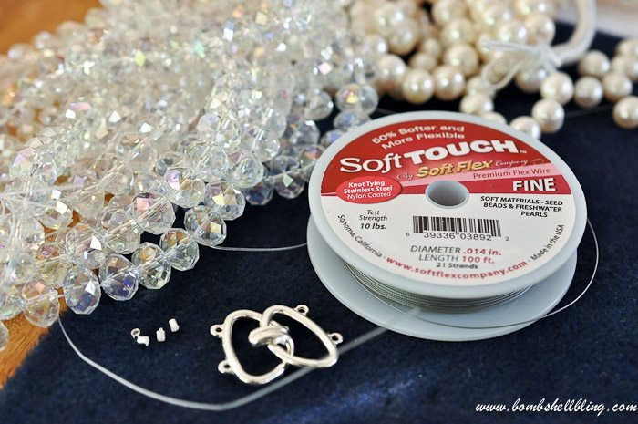 crystal and pearl necklace supplies