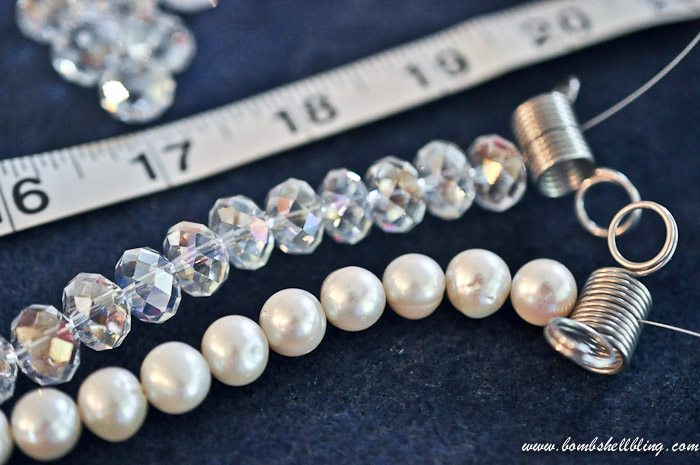 crystal and pearl necklace linking strands