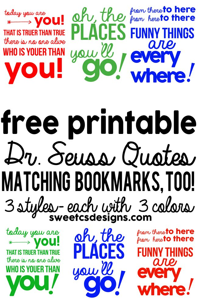 These free printable Dr Seuss Bookmarks come in three colors. So fun for kids, teachers, and Seuss lovers of any age! Pair them with a Dr. Seuss book for a great gift!