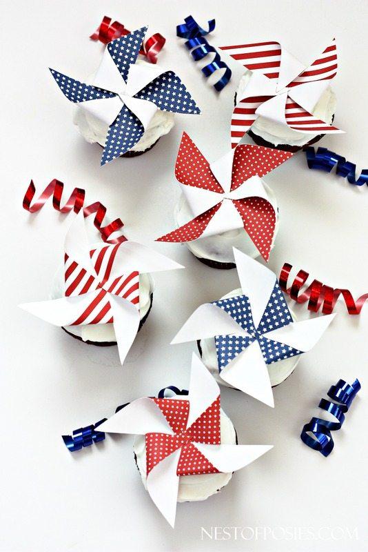 4th Printable-Pinwheel-Cupcake-Toppers