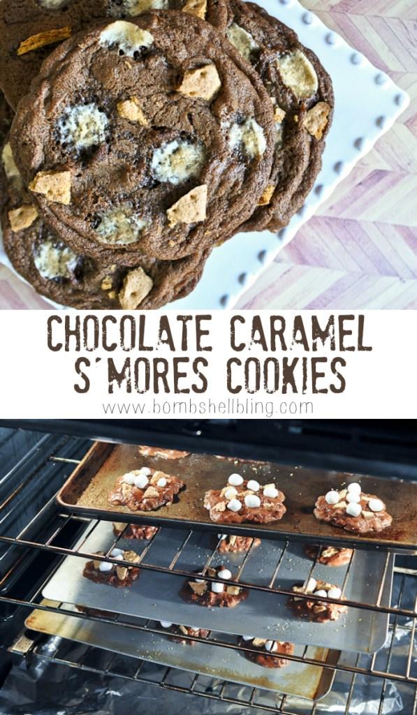Chocolate Caramel S'mores Cookies