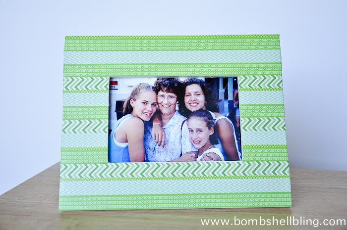 horizontal photo of green washi tape frame