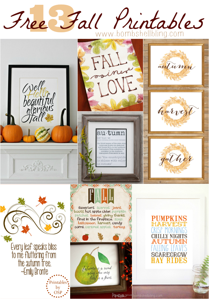 13 Free Fall Printables collage
