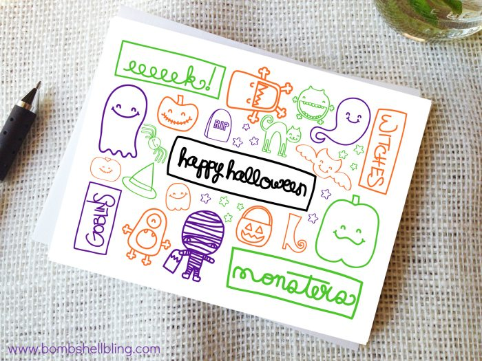 picture about Free Printable Halloween Cards known as Printable Halloween Playing cards