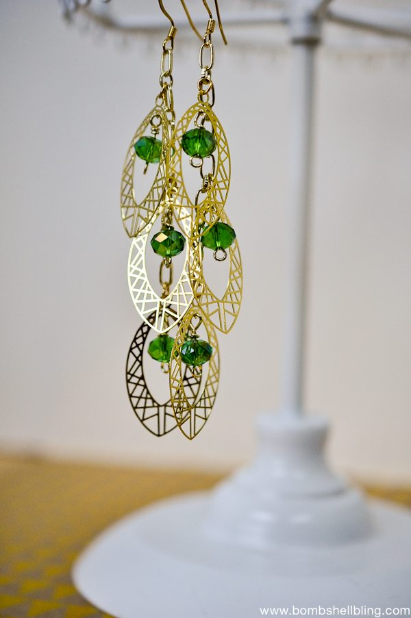 Gold & Green Earrings CC-2