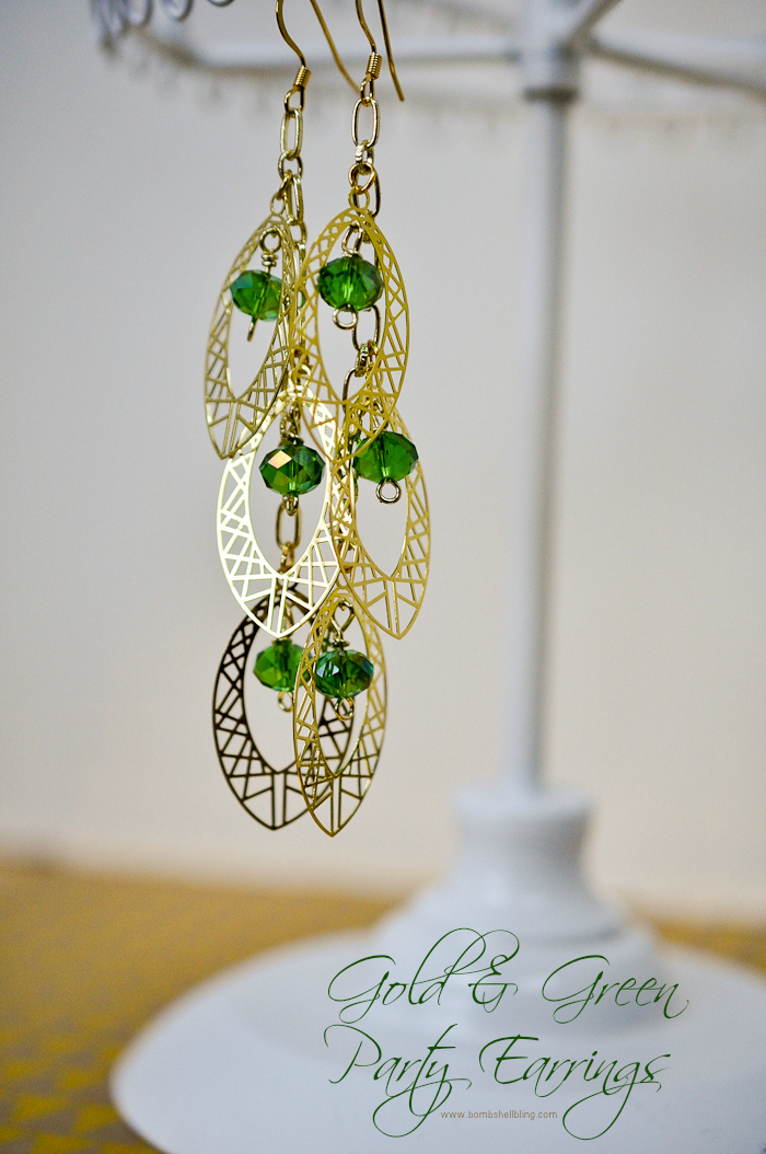 Gold & Green Party Earrings by Bombshell Bling