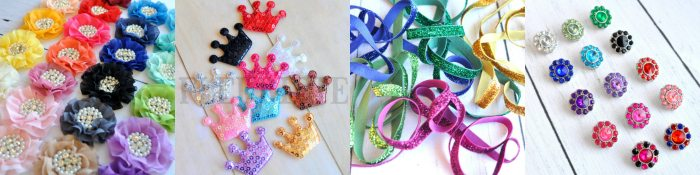 A Supply of Blingy Hair Bow and Headband Making Supplies!