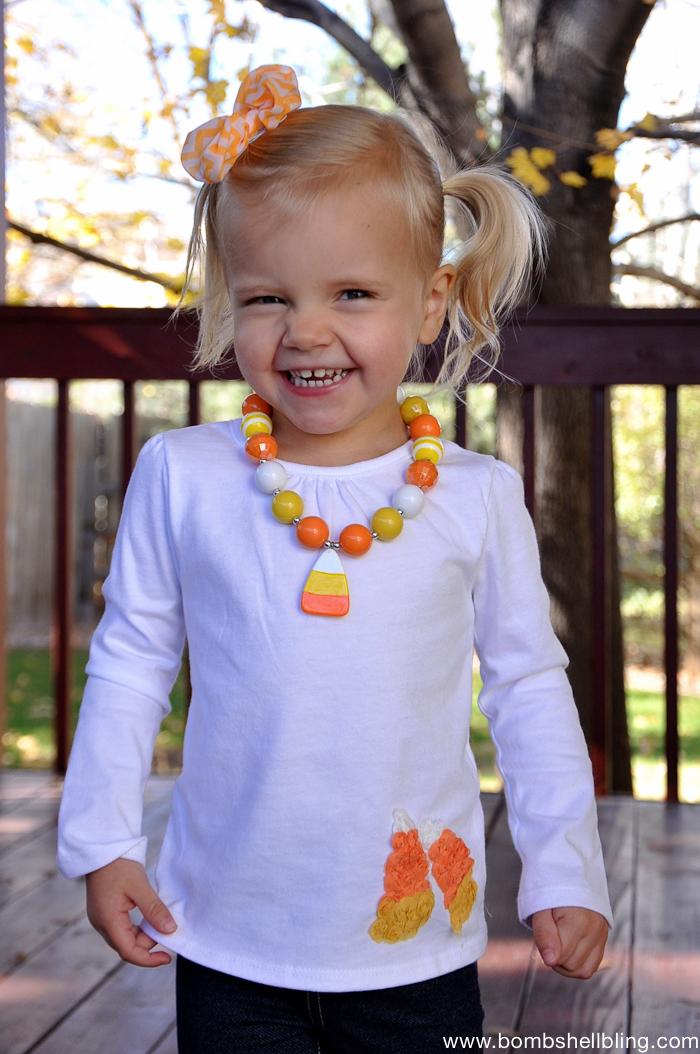 Make this darling candy corn outfit in five minutes flat!