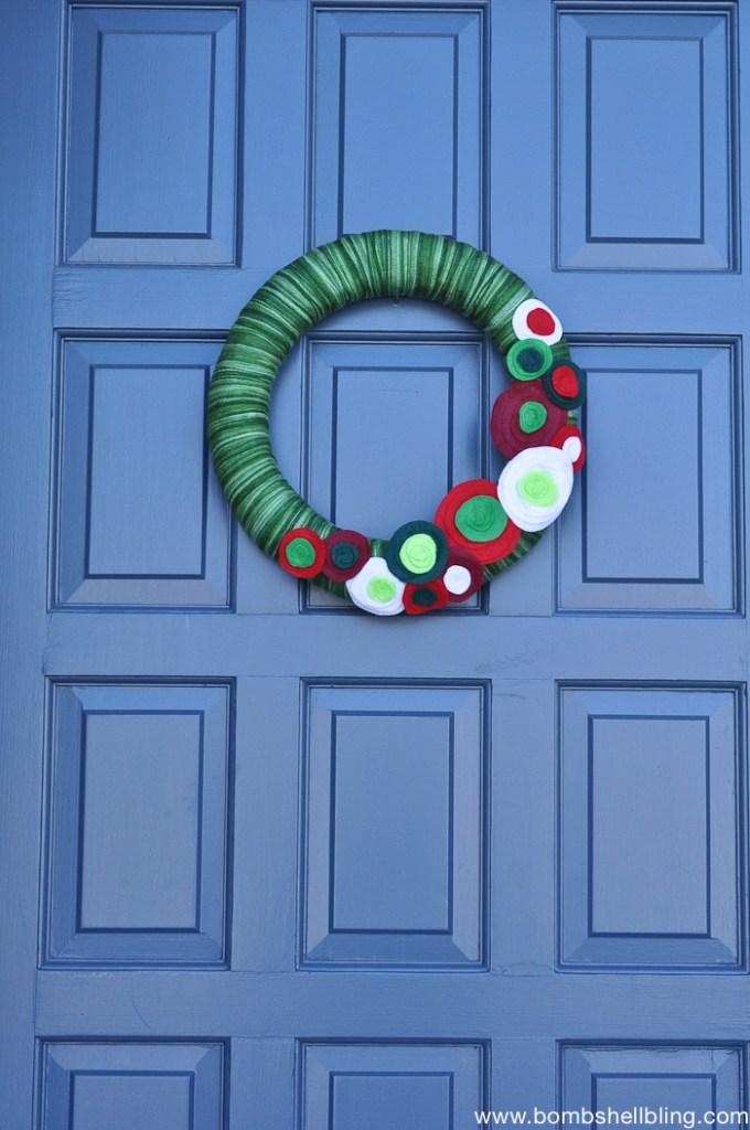 Christmas Felt Flower Wreath-2