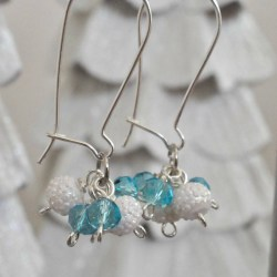 Frozen Inspired Glamorous Gift: Icy Dangle Cluster Earrings