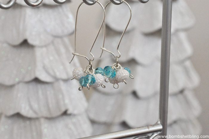Frozen Inspired Dangle Cluster Earrings-10