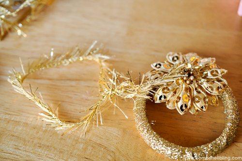 Gold Wreath Ornament Tutorial-6