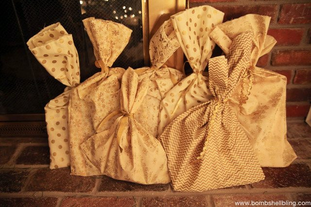 Storybook advent bags in gold.  Beautiful.