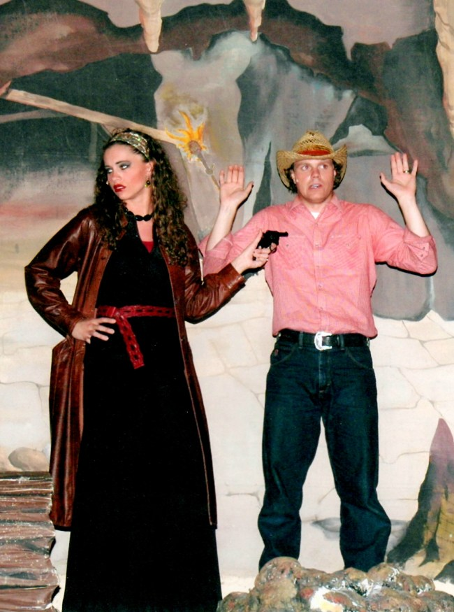 Melodramatic villainess and cowboy hero in Finding the Fickle Fortune at Pickleville Playhouse in Bear Lake, UT.  My son is completely fascinated with this picture!  :)