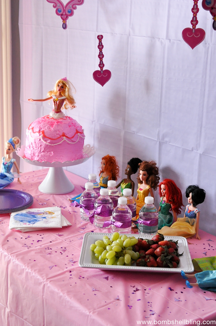 Disney Princess Barbies used as easy party decor - love it!