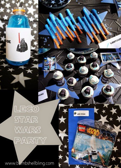 Star Wars Lego party pin collage