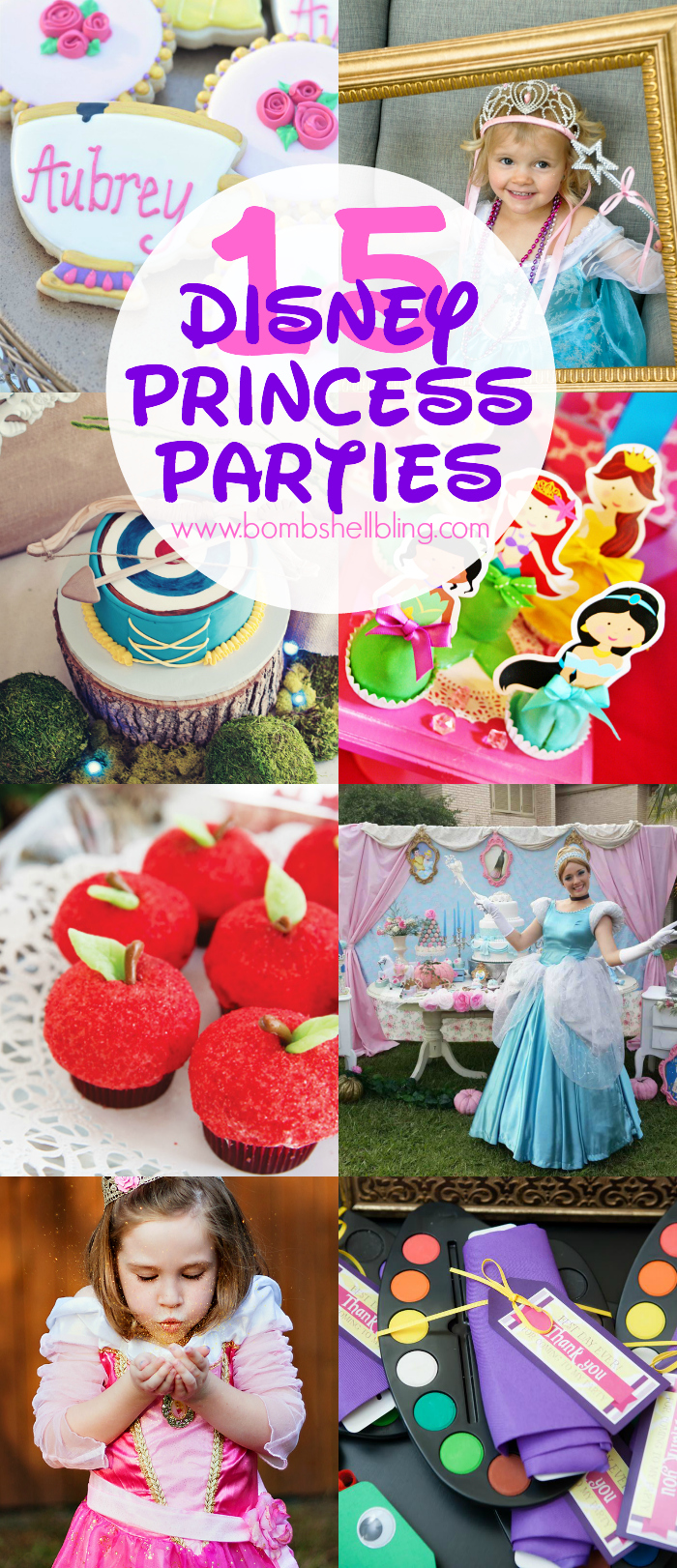 Disney Princess Parties pin collage