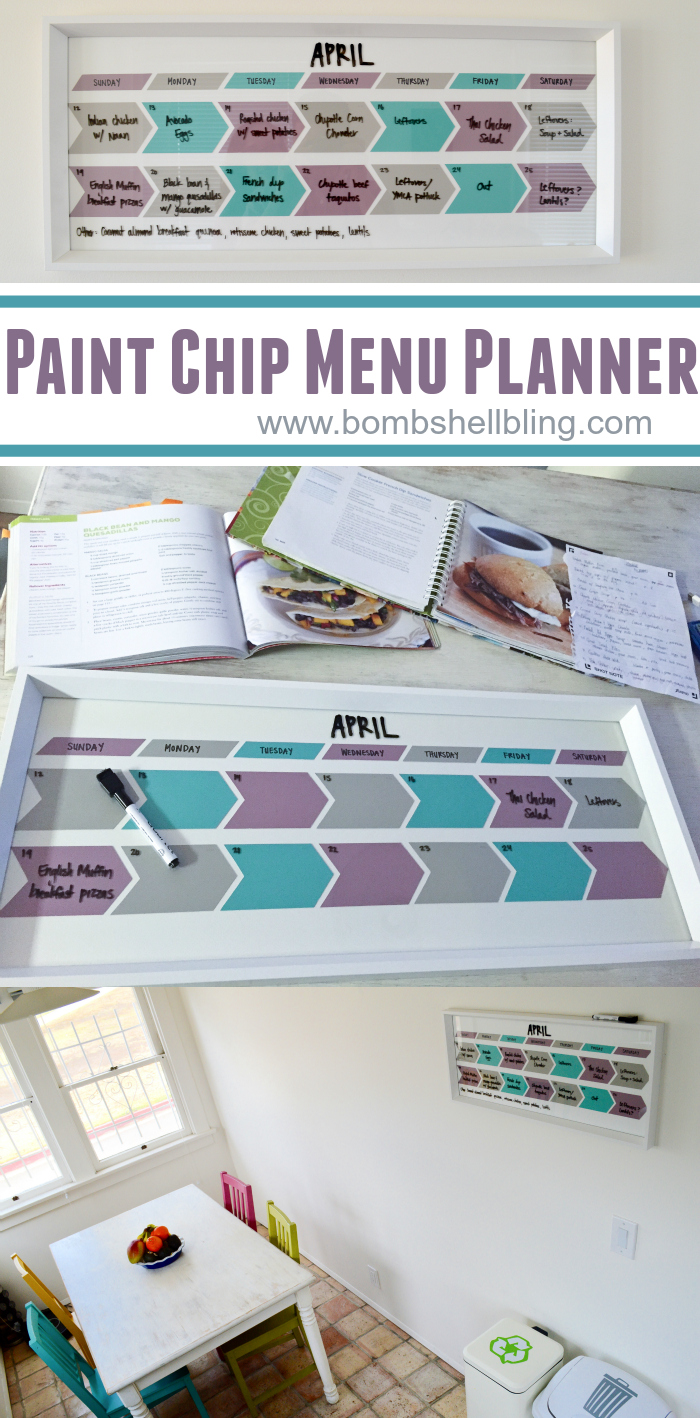Paint Chip Menu Planning Calendar