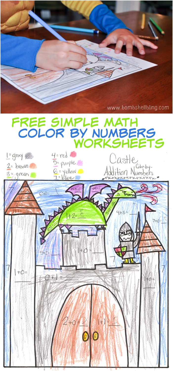 FREE Simple Math Color by Number Worksheets