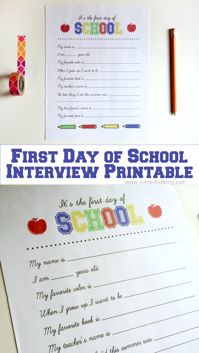 photo regarding First Day of School Interview Printable known as No cost Initial Working day of Higher education Job interview Printable