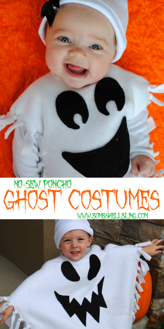 Make a cute no-sew ghost costume for your little spook with this tutorial. Ghost ponchos are so much cuter than the traditional sheet-over-the-head costume!