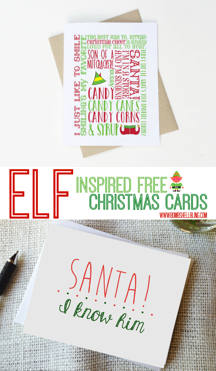 ELF Inspired free Christmas Cards
