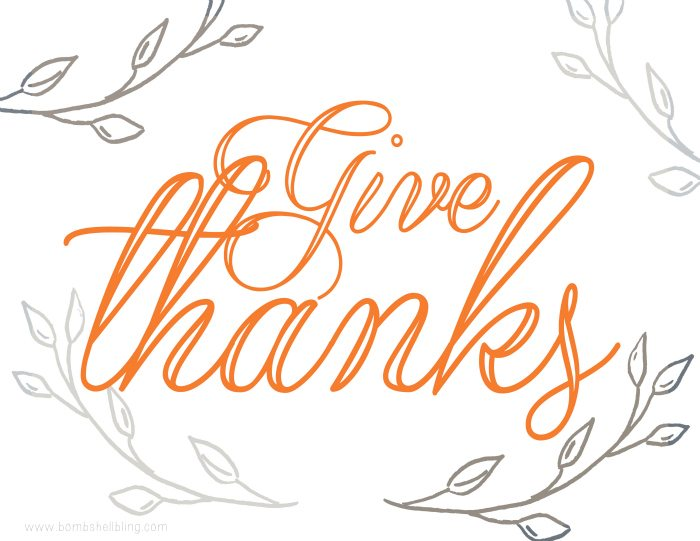 picture about Give Thanks Printable named Offer you Because of Printable - Bombs Bling