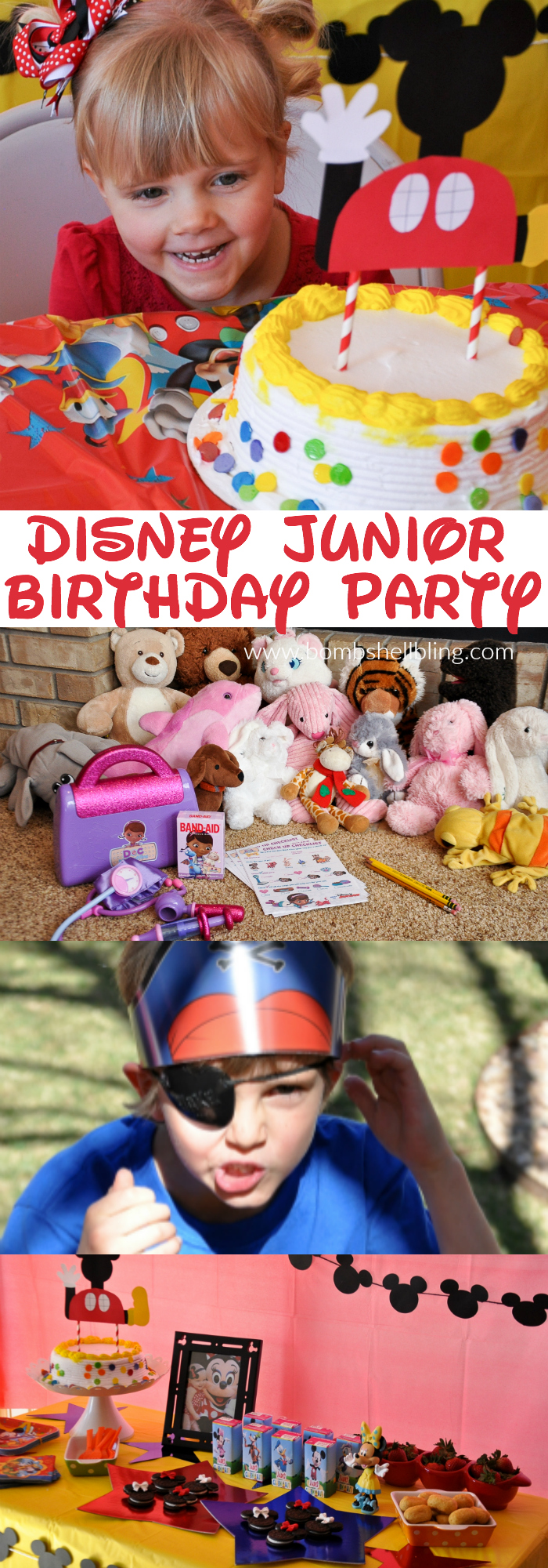 Disney Junior Birthday Party pin collage