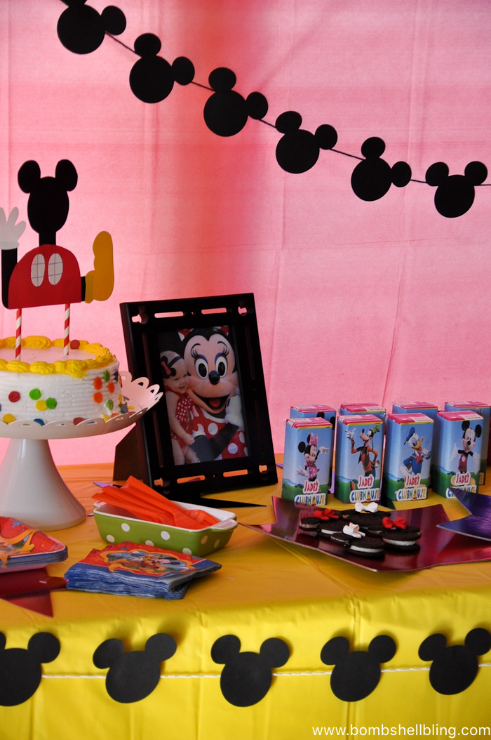 Food table close up at disney junior birthday party