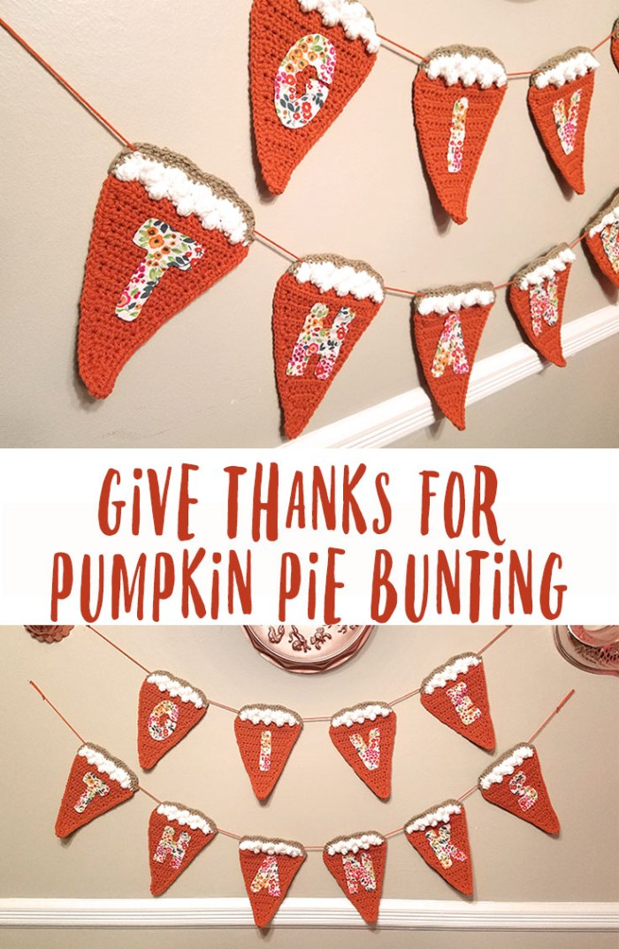This pumpkin pie bunting is perfect for the upcoming holiday season. Would be a great addition to your Thanksgiving buffet or dining room decor.