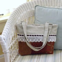 Linen and Lace Cuff Bag